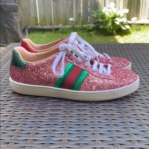 Gucci Pink Ace Glitter Sneakers